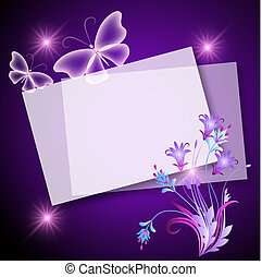 Paper, flowers and butterfly