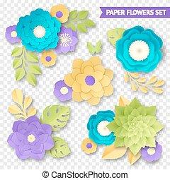 Paper Flowers Compositions Transparent Set
