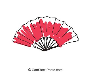 Paper folding fan hand drawn icon