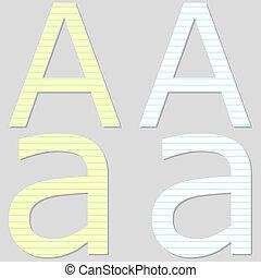 Paper Font Set Letter A