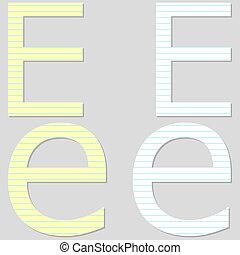 Paper Font Set Letter E