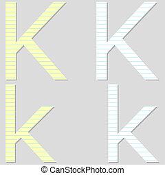 Paper Font Set Letter K