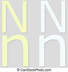 Paper Font Set Letter N