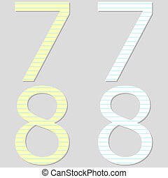Paper Font Set Numbers 7 and 8