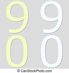 Paper Font Set Numbers 9 and 0