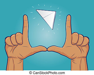 Paper Football - Illustration of a paper football flying the...