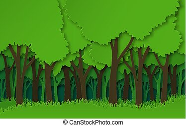 Paper forest. Green paper cut trees silhouettes, natural layered landscape. 3d origami ecosystem abstract vector concept
