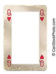 paper frame from old queen of hearts playing card. Isolated on white