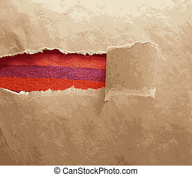 Paper frame texture with torn area and red tissue