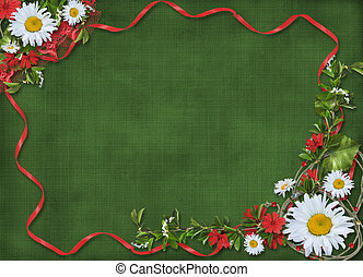 Paper frame with floral beautiful bouquet on the green background