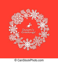 Paper frame with vintage cut out snowflakes