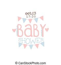 Paper Garlands Baby Shower Invitation Design Template