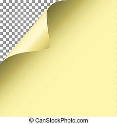 paper., giallo, vector., angolo, riccio, pagina