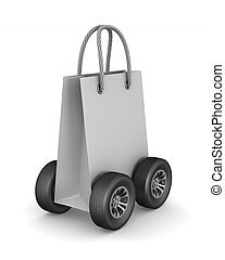 paper gift bag with wheels on white background. Isolated 3D illustration
