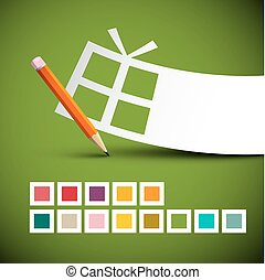 Paper Gift Box and Pencil with Colorful Squares on Green Background