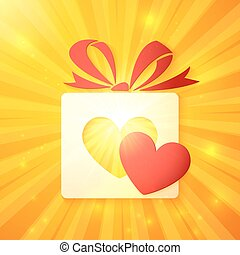 Paper gift box with cutout red heart