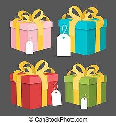 Paper Gift Boxes Set. Vector Present Box.
