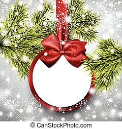 Paper gift card on spruce branches. - Christmas paper card....