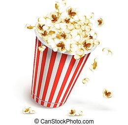 Paper glass full of popcorn. Eps10 vector illustration....