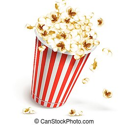 Paper glass full of popcorn. Eps10 vector illustration....