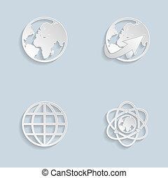 Paper Globe earth icons set