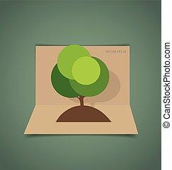 Paper green tree, vector illustration.