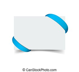 Paper greeting card with curved blue gift ribbon corners isolated on white. Realistic vector illustration of postcard for web, print