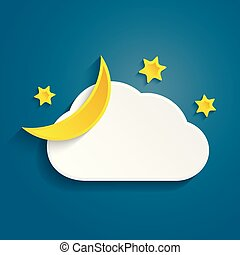 Paper half moon, cloud and stars in the night