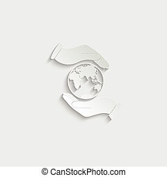 paper Hand holding Globe earth - black vector icon. Care of planet icon