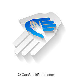 Paper hands - Composition of three hands in paper style as ...