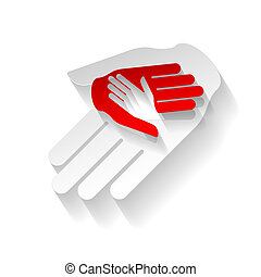 Paper hands - Composition of three hands in paper style....