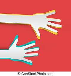 Paper Hands on Red Background