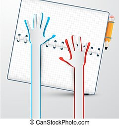 Paper Hands with Notebook Vector Illustration