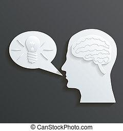 Paper Headmind Brain in Head Silhouette Generate Lamp Idea Manifest Speach Bubble Vector Illustration