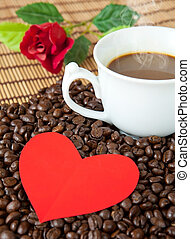 paper heart and coffee