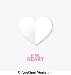 Paper heart - graphic design element. Heart image.
