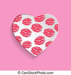 Paper heart icon with Pink Lips prints, vector illustration