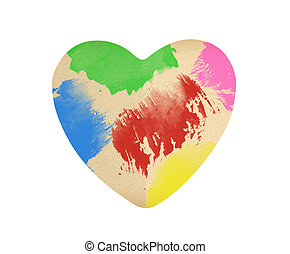 paper heart in color paint isolated on white background