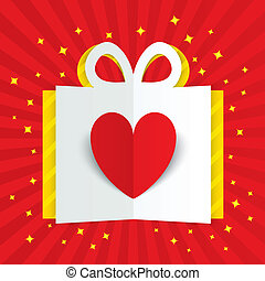 Paper heart in gift box with yellow flare, stars