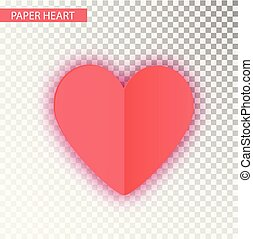 Paper Heart isolated. Vector Heart of Valentine s on transparent background. Folded paper hearts isolated on transparent background. Valentines Day vector background