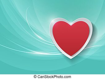 Paper Heart on Abstract Turquoise Background