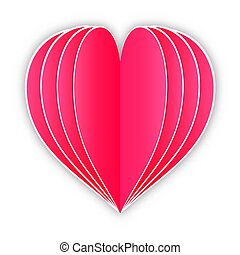 paper heart on white background