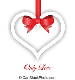 Paper Heart ornament on white background. Valentines day...