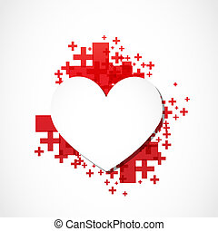 paper heart positive concept vector