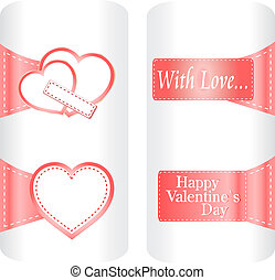 paper heart stickers label tag set on white background