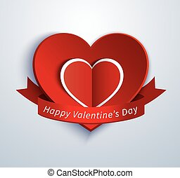 paper heart valentine card