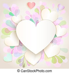 Paper heart Valentines day vector card.