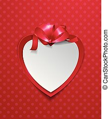 Paper Heart with Ribbon on Red Background