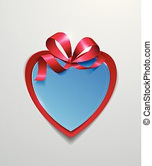 Paper Heart with Ribbon on White Background