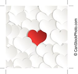 Paper hearts background with alone red heart. Vector concept illustration
